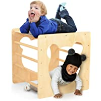 ikkle Wooden Cube for Climbing, Indoor Climber Wooden Toy for Toddlers Kids from 1-3 Year Old, Eco Solid Hardwood Ladder…