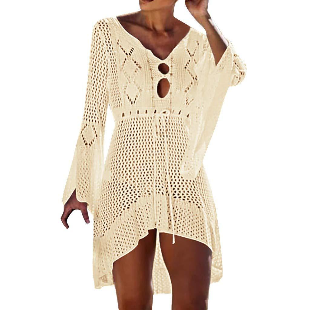 Keliay Dress for Women Summer,Women Crochet Sunscreen Cover Up Bikini Swimwear Knit Beach Swimsuit Bandage Beige by Keliay