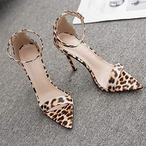 Marron Cool Boucle Femme Femmes Chaussures Pompes À Un Léopard les sandales Talons Point Hauts Femme Escarpins nFBxgZwn