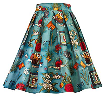 Womens Vintage Pleated Skirts Floral Print Party Midi Skirt R01