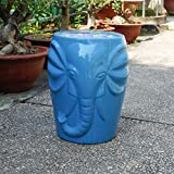 International Caravan Wild Elephant Drum Ceramic Gardn Stool - Blue