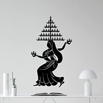 Indian Girl Dancing Wall Decal Beautiful Woman Indian Dance Hair - Yoga studio wall decals