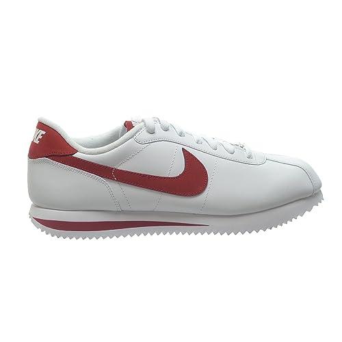 Nike Cortez Base de Color Blanco Zapatillas de para Hombre Piel 06/Varsity Rojo