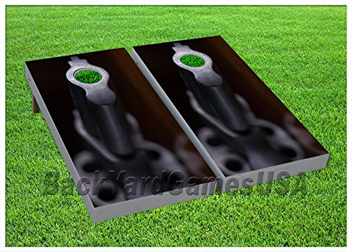 Cornhole Beanbag Toss Game W Bags Game Boards Empty Revolver Hand Gun Set 1052
