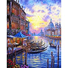 JynXos Framed Europe Venice Night DIY Painting By Numbers Abstract Oil Painting On Canvas Acrylic Paint By Numbers For Home Decor
