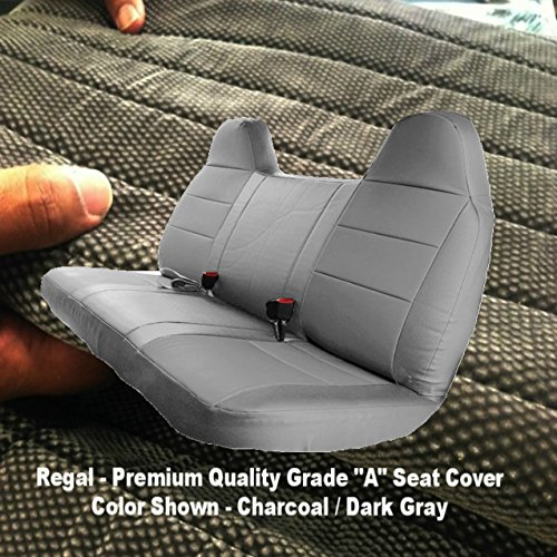 F23 Ford F150 F250 F350 F450 F550 Pickup Truck Front Solid Bench Deluxe 12mm Thick Seat Covers Molded Headrests Seat Belt Cutout Custom Made Exact Fit 1992 - 2010 (Charcoal, ()