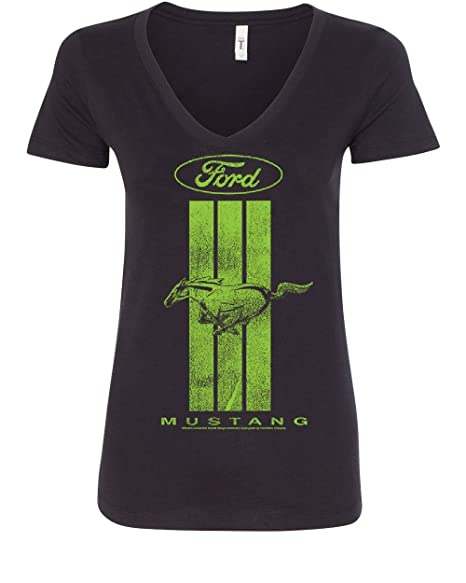 Tee Hunt Ford Mustang Green Stripe Women's V-Neck T-Shirt Classic American