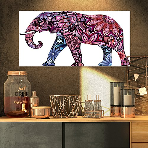 Purple Cheerful Elephant Animal on Canvas Art Wall Photgraphy Artwork Print by Design Art