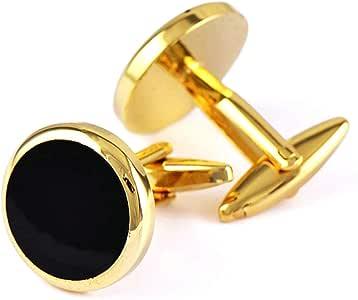 Aooaz Gemelos para Novio Redondo Gemelos para Camisa Oro Negro: Amazon.es: Joyería