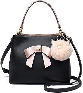 HWX Mode Sac à Main en Cuir à bandoulière pour Les Femmes, Confortable Top Handle Design,Black,23.5 * 11 * 19cm