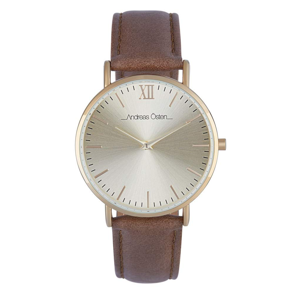 Andreas Osten Unisex Quartz Watch 36 mm Gold Dial and Brown PU Bracelet AOW18014