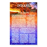 INDIANA FUN FACTS postcard set of 20 identical postcards. US state trivia post card pack. Made in USA.