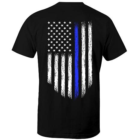 1eb30ab0 Amazon.com: Fantastic Tees Thin Blue Line USA Flag Patriotic Police Support  Men's T Shirt: Clothing