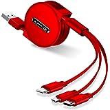 最新バージョン ライトニングケーブル 3in1 充電ケーブル 巻き取り式 lightning ケーブル & USBC TYPE C & Micro 3A急速充電 高速データ転送 120cm 収納袋付き 一年間品質保証 (レッド)