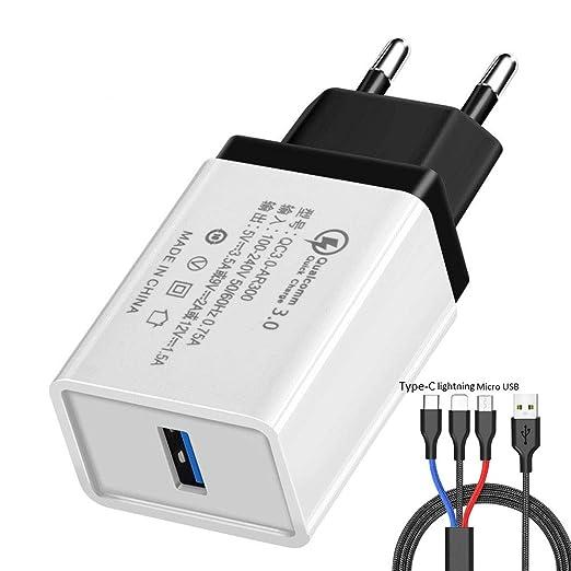 Cargador de Pared USB de 18 W Adaptador QC 3.0 Cargador de ...