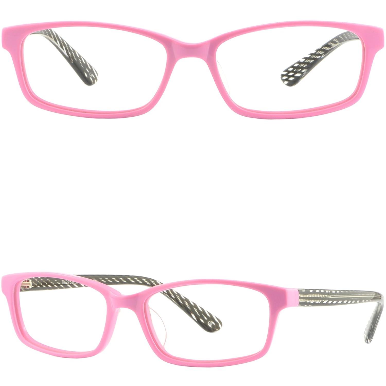 Rectangular Small Girl Petite Women Plastic Frame Glasses Eyeglass Protection Pink