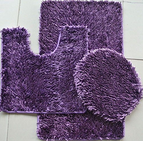 (OKSLO 3 PIECE SHINY SOFT PADDED CHENILLE SHAG BATH RUG, CONTOUR RUG AND LID COVER SET, PURPLE Purple)