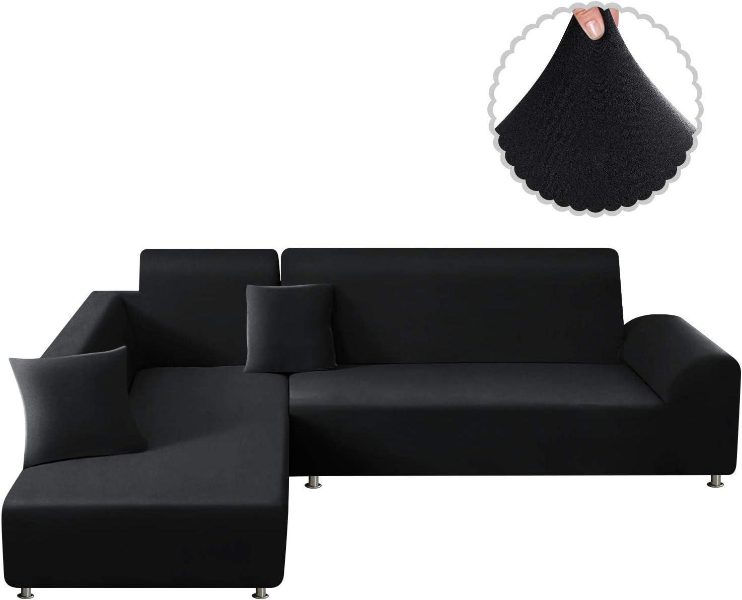 TAOCOCO Funda para sofá Funda para sofá en Forma de L Funda elástica elástica 2 Juegos para 3 Asientos + 3 Asientos, con Funda de cojín de 2 Piezas (Negro)