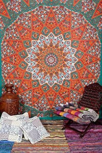 star mandala indian tapestry wall hanging queen size paisley tapestry bed spread orange color elephant hippie tapestries