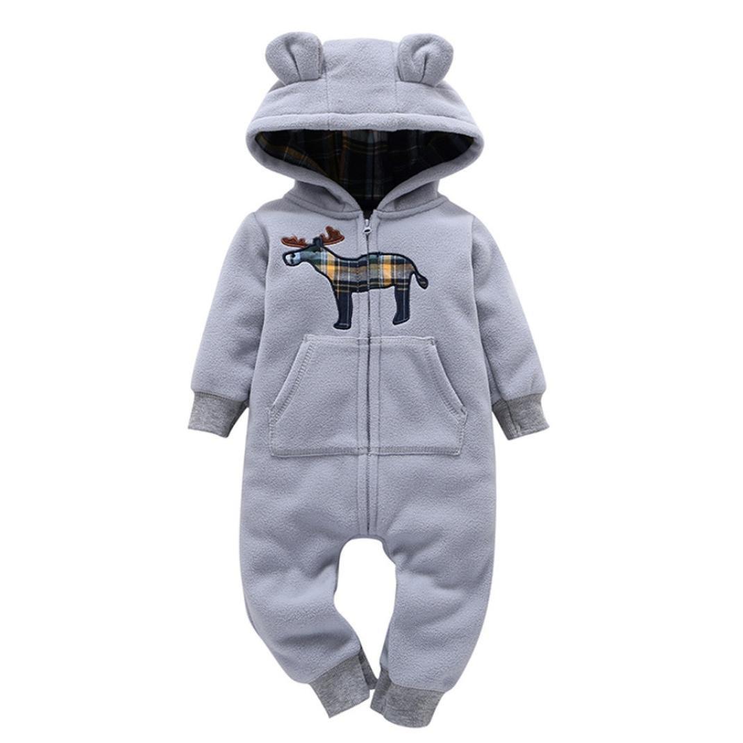 URSING Säugling Baby Winter Mantel Jungen Mädchen Kapuzenpullover Drucken Dicker Kapuzenjacke Overall Outfit Reißverschluss Kinderkleidung 6-24 Monat URSING_Babykleidung