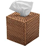 KOUBOO Square Rattan Tissue Box Cover, Honey Brown