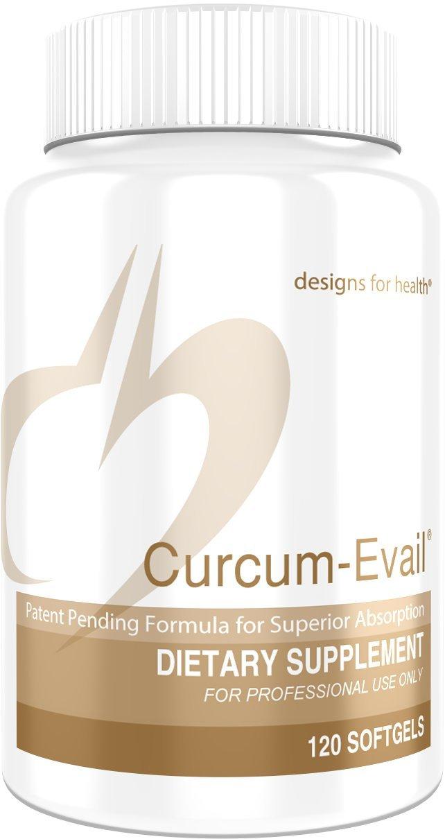 Designs for Health Bioavailable Curcumin + Turmeric Oil - Curcum-Evail (120 Softgels)