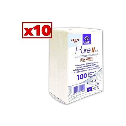 Compresas no tejidas, no estériles, 30 gramos, 7,5 x 7,