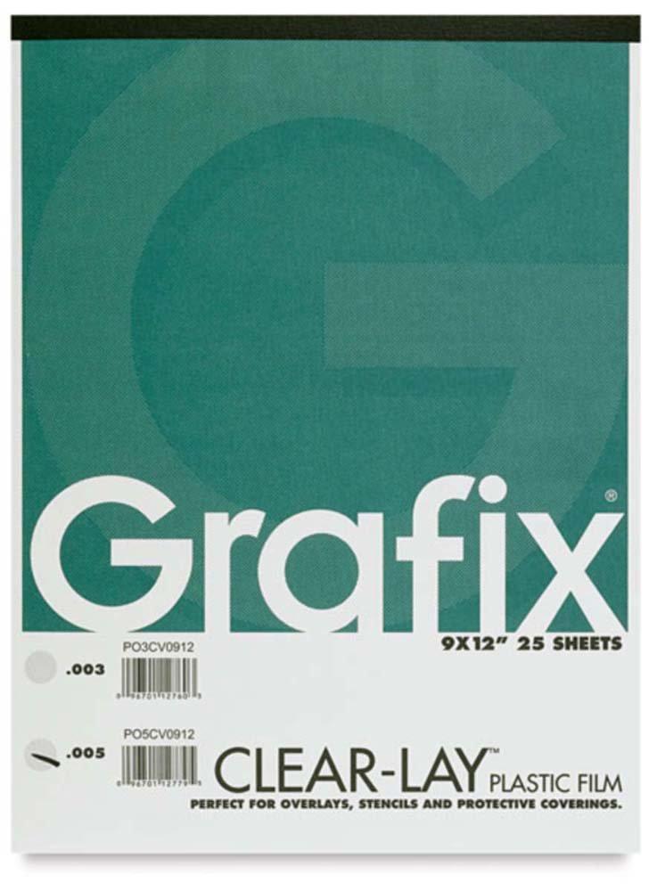 Grafix GRP-P05CV0912 Lay Clear Plastic Film 25 Sheet Pad, 9 x 12 x .005