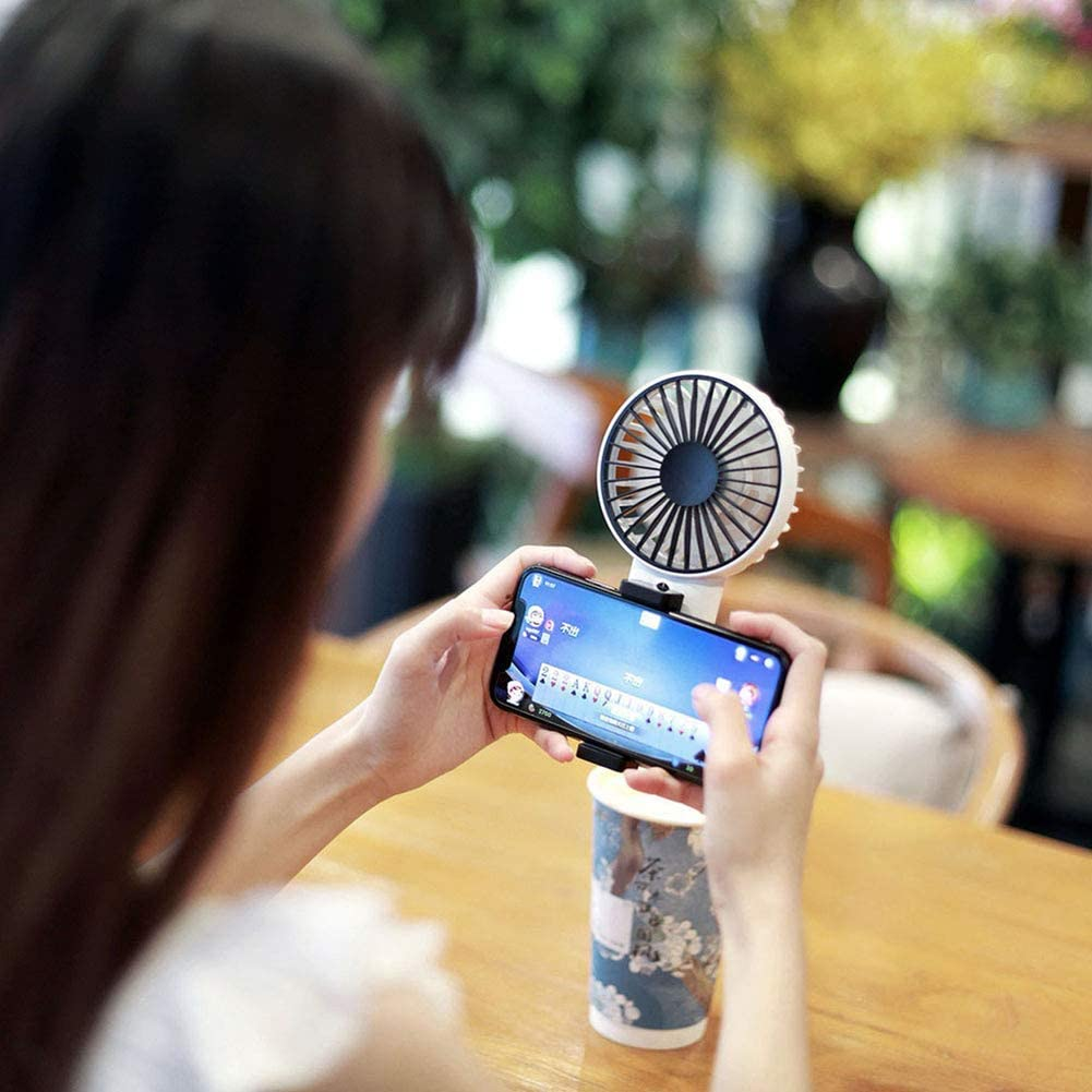 schicj133mm Anti-Slip Pad USB Rechargeable Handheld Cooling Fan Summer Travel Adjustable Speed Cooler with Phone Clip Navy Blue