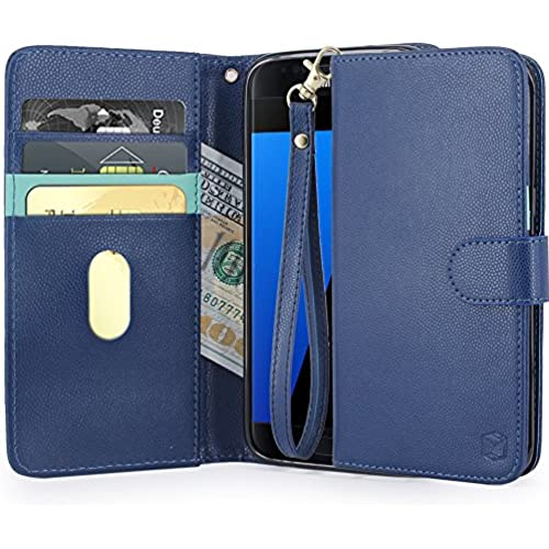 S7 Edge Case, MP-Mall [Kickstand Function] [Card Slot] PU Leather Folio Wallet Case Cover With Wrist Strap For Sales