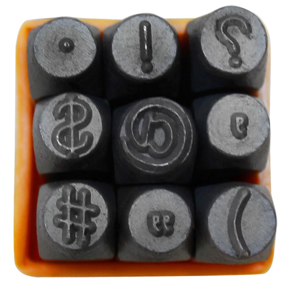 9 PC 1/4 6mm Metal Steel Punch Punctuation Symbols Stamp Set Generic