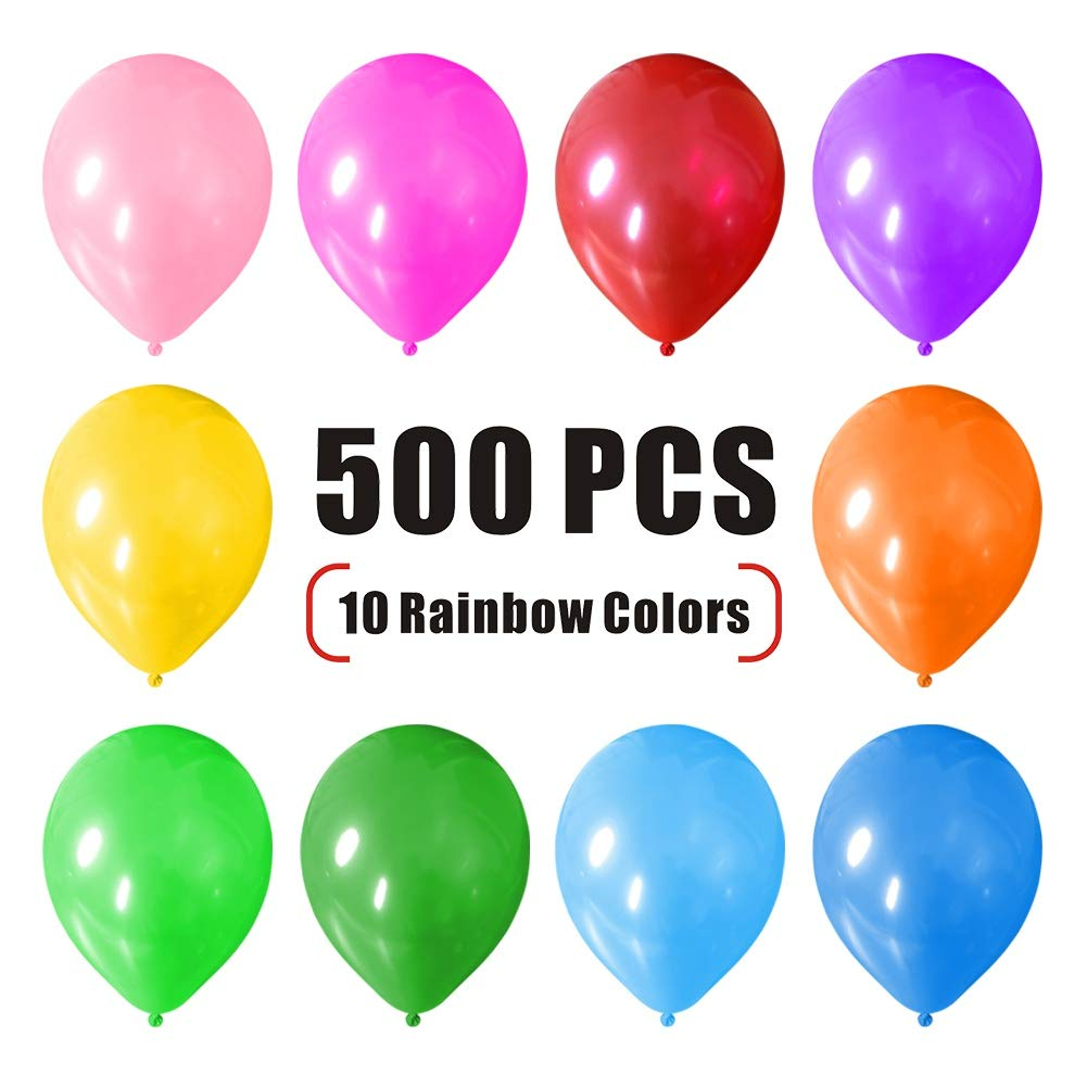 winemana 500 Pcs 12'' Party Balloons, Helium Latex Balloons, Pearlized Balloons Bulk for Party Wedding Birthday Decoration, 10 Assorted Colors.