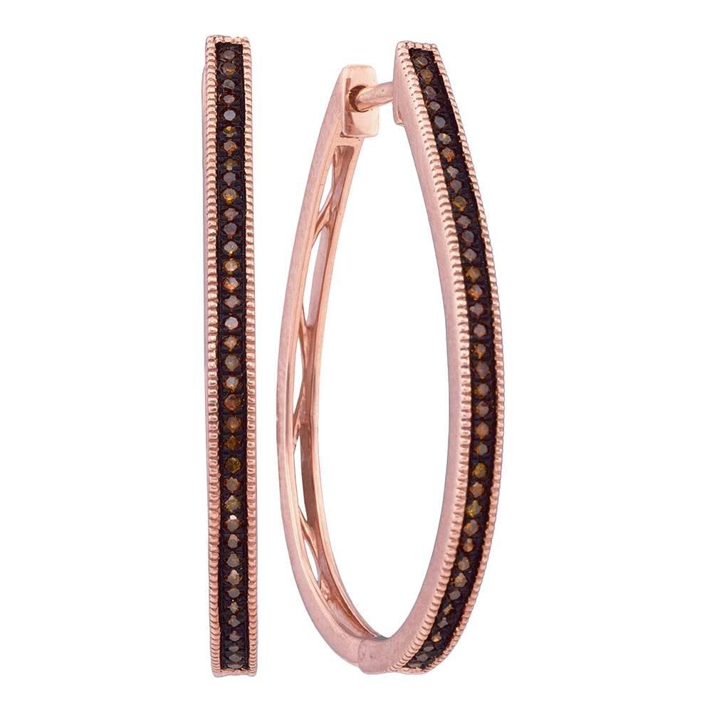 10k Pink Rose Gold Red Diamond Slender Large Unique Hoop Earrings 0.23 Cttw