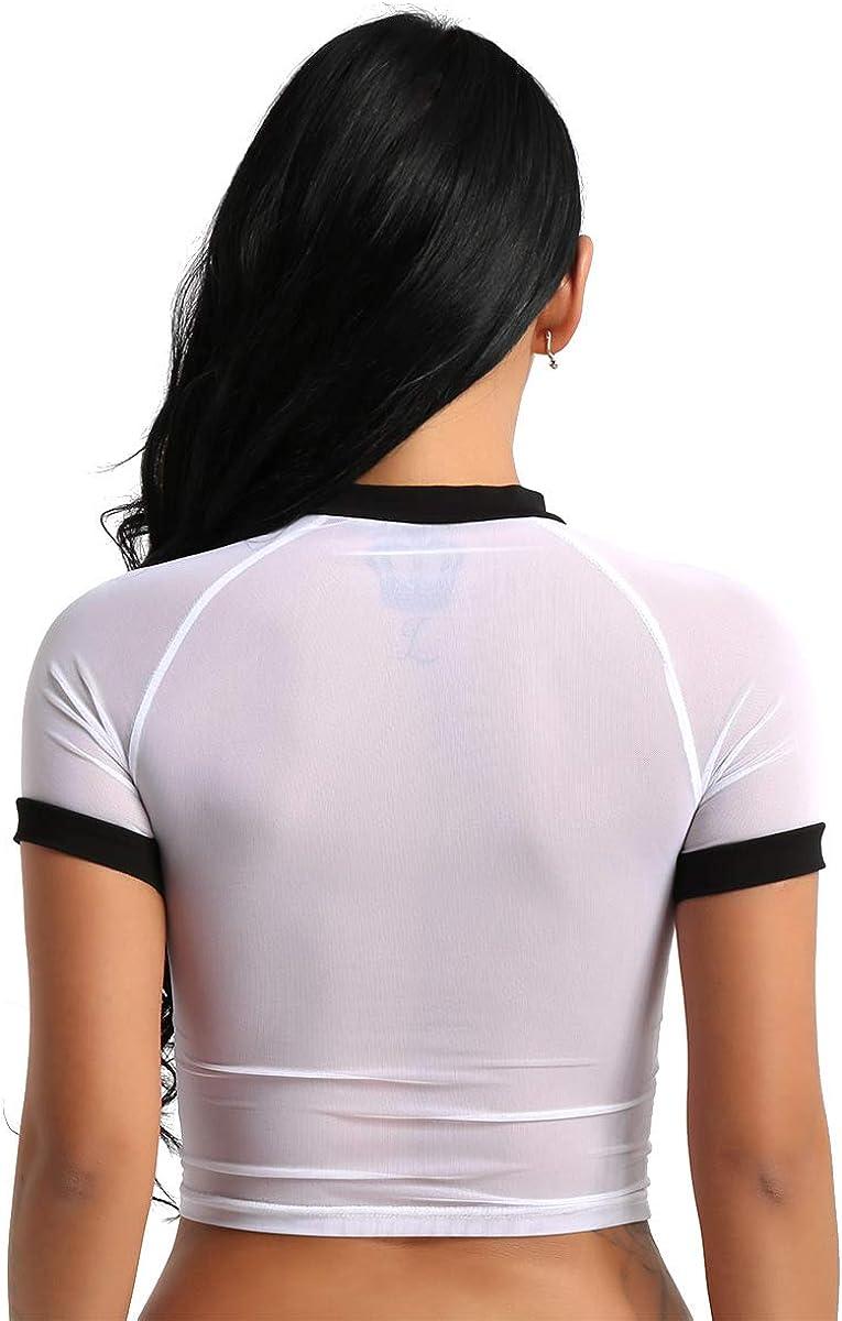 ACSUSS Women\' s Sexy Mesh See Through Gauze Crop Top Short T-Shirt Clubwear 61QujIWIi3L
