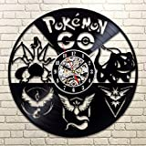 Pokemon go gift made of vinyl record wall clock Team instinct Team mystic Team valor Pikachu art Pokeball decor Gaming gift wall decal gamer gift