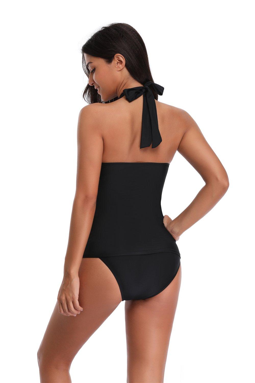 SherryDC Women's Twist Bandeau Halter Padded Tankini Top Swimwear Swimsuit,(US 6-8)M,Black by SherryDC (Image #4)