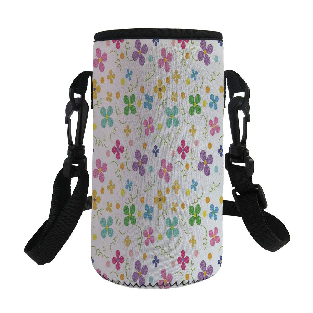 Small Water Bottle Sleeve Neoprene Bottle Cover,Kids,Spring Inspired Sketch Art Style Daisy Blossoms and Dots in Lively Colors Fun Nature,Multicolor,Great for Stainless Steel and Plastic/Glass Bottles