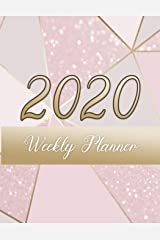 Trendy Pink and Gold Glitter Weekly Planner: 2020 dated yearly planning calendar with notes; 1-page per week spread Paperback