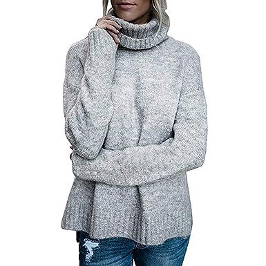 af78e9ca98f20 JEELINBORE Femmes Pulls Col roulé Chunky Sweater Chandail irrégulier Haut  en Tricot: Amazon.fr: Vêtements et accessoires