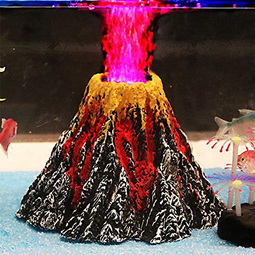 Aquarium Decorations, Air Stone Bubbler Volcano Shape Ornament Kit Set with Red LED Spotlight for Betta Aquarium Fish Tank