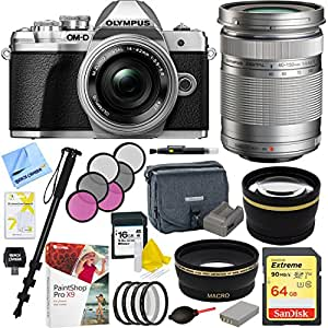 Olympus OM-D E-M10 Mark III Mirrorless Camera (Silver) with 14-42mm EZ Lens and M. Zuiko 40-150mm f.40-4.6R Lens Plus 64GB Acccessories Bundle