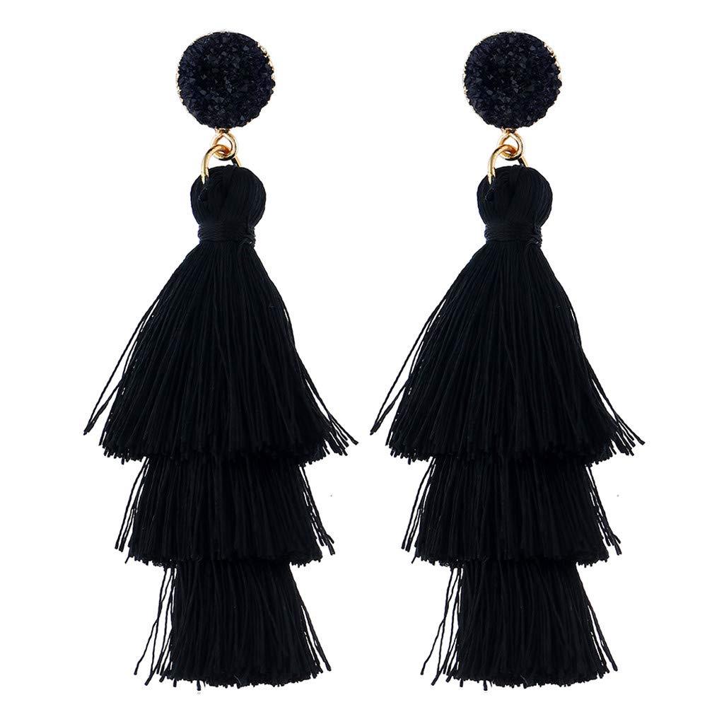 XBKPLO Luxurious Drop Tassel Three Layer Earrings Simple Wild Dangle Gemstone Fringe Earrings Hypoallergenic Women's Elegant Jewelry Gifts