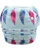 Babygoal Baby Swim Underwear for Swim lesson, Reuseable Washable Adjustable Swiming Diapers Girl color SW20, one size( 0-2 years), Feather