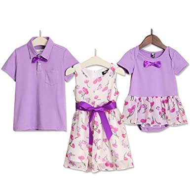 c405b5bb Amazon.com: PopReal Boy Polo and Girl Dress Bowknot Decorated Floral  Matching Outfits for Brother Sister: Clothing