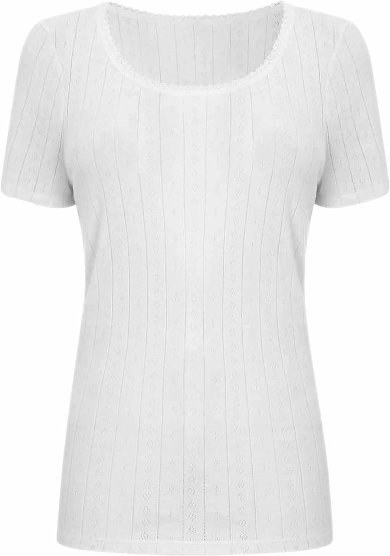 Womens Thermal Vest Short Sleeve Eyelet Heat Trapper Warm Comfy Base Layer Underwear Ex-Store