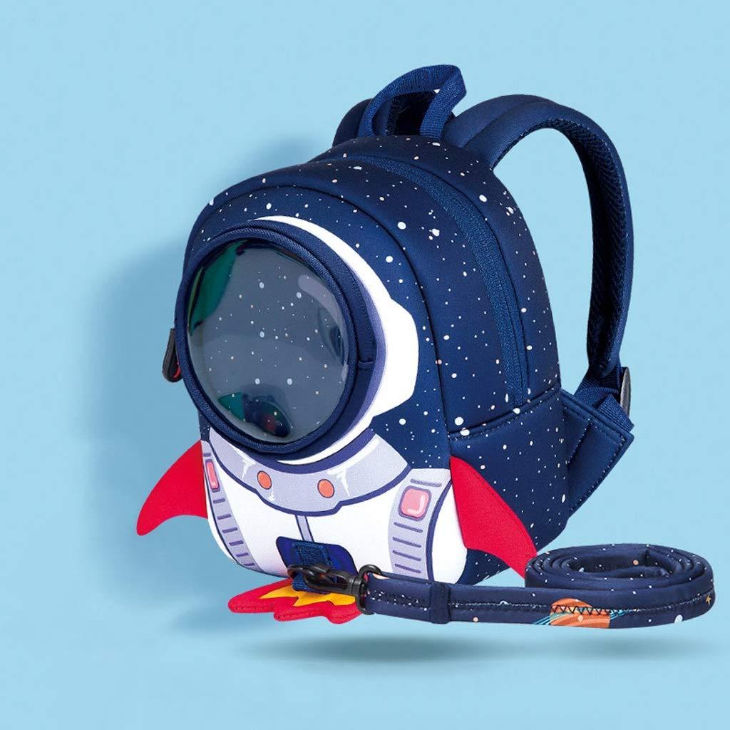 CXQ Zaino Scuola per Bambini Carino Blu Rocket Cartone Animato 15 Anni Scuola Ragazza Ragazzo Zaino Anti-Perso (Dimensione   M)