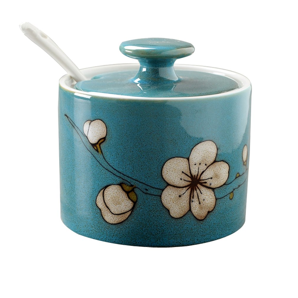 Verdental Flower Pattern 9.2 OZ Ceramic Salt and Spice Storage Seasoning Cans with Lid and Spoon (Deep Blue)