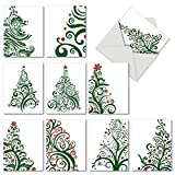 M5019XTG JUST FIR YOU: 10 Assorted Christmas Thank You Cards Featuring Stylized Fashionable Christmas-Tree Imagery With Envelopes.