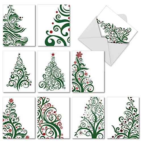 Just Fir You' Christmas Cards, Decorative Swirly Christmas Tree Holiday Greeting Cards 4 x 5.12 inch, Boxed Set of 10 Artsy Pine Tree Cards, Thank You Notes with Envelopes M5019XTG            -