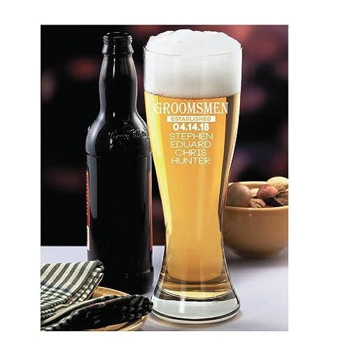 amazon com personalized beer glass groomsmen gift with wedding date